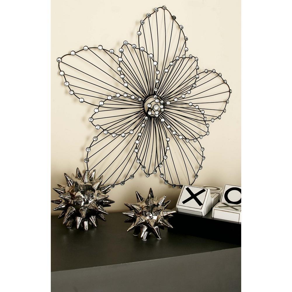 Glitz Inspired Black Iron Wire Flower Petal Wall Decor 55101 The Home Depot
