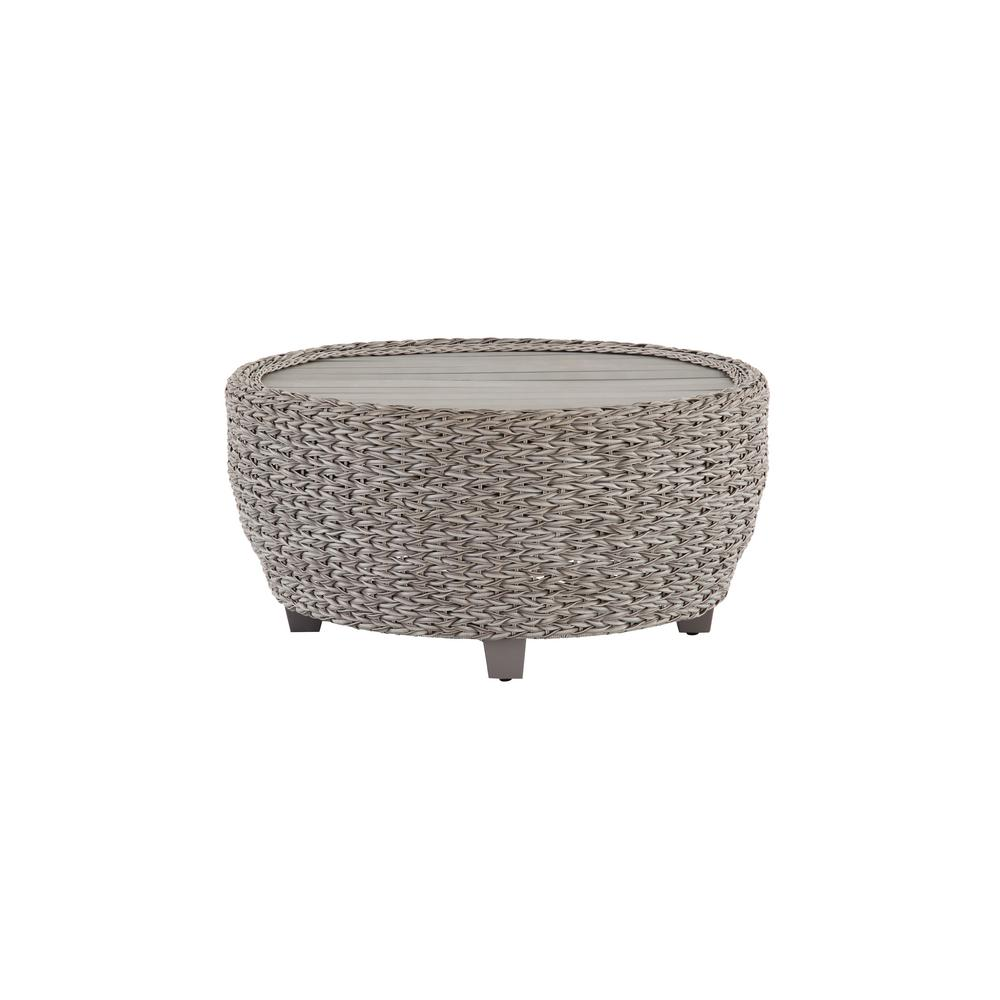 Megan Grey All-Weather Wicker Patio 36 in. Large Round Coffee Table
