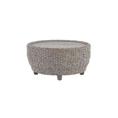 Megan Grey All-Weather Wicker Patio 36 in. Large Round Coffee Table with Slatted Wood Top