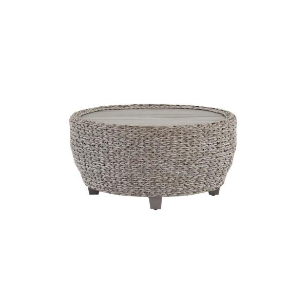 36 in. Megan Grey All-Weather Wicker Outdoor Patio Large Round Coffee Table with Slatted Wood Top