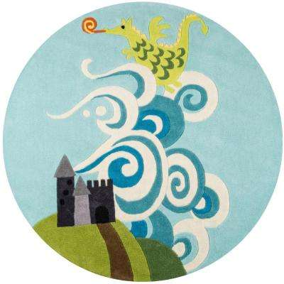 Lil Mo Whimsy Dragon Sky Blue 5 ft. x 5 ft. Indoor Kids Round Area Rug