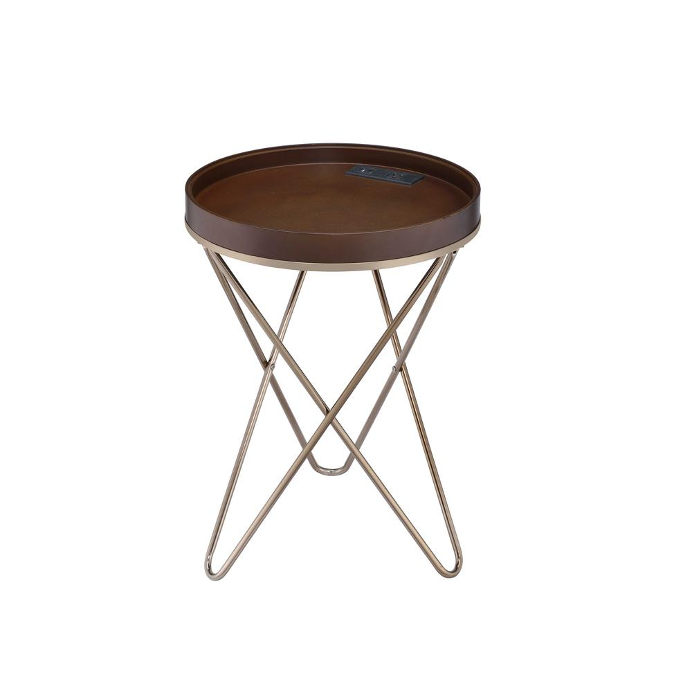 Crary Walnut and Champagne Side Table