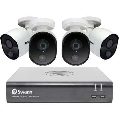 8-Channel 1080p 1TB DVR Surveillance System, 4 PIR Wired Bullet Cameras with Google Voice Command