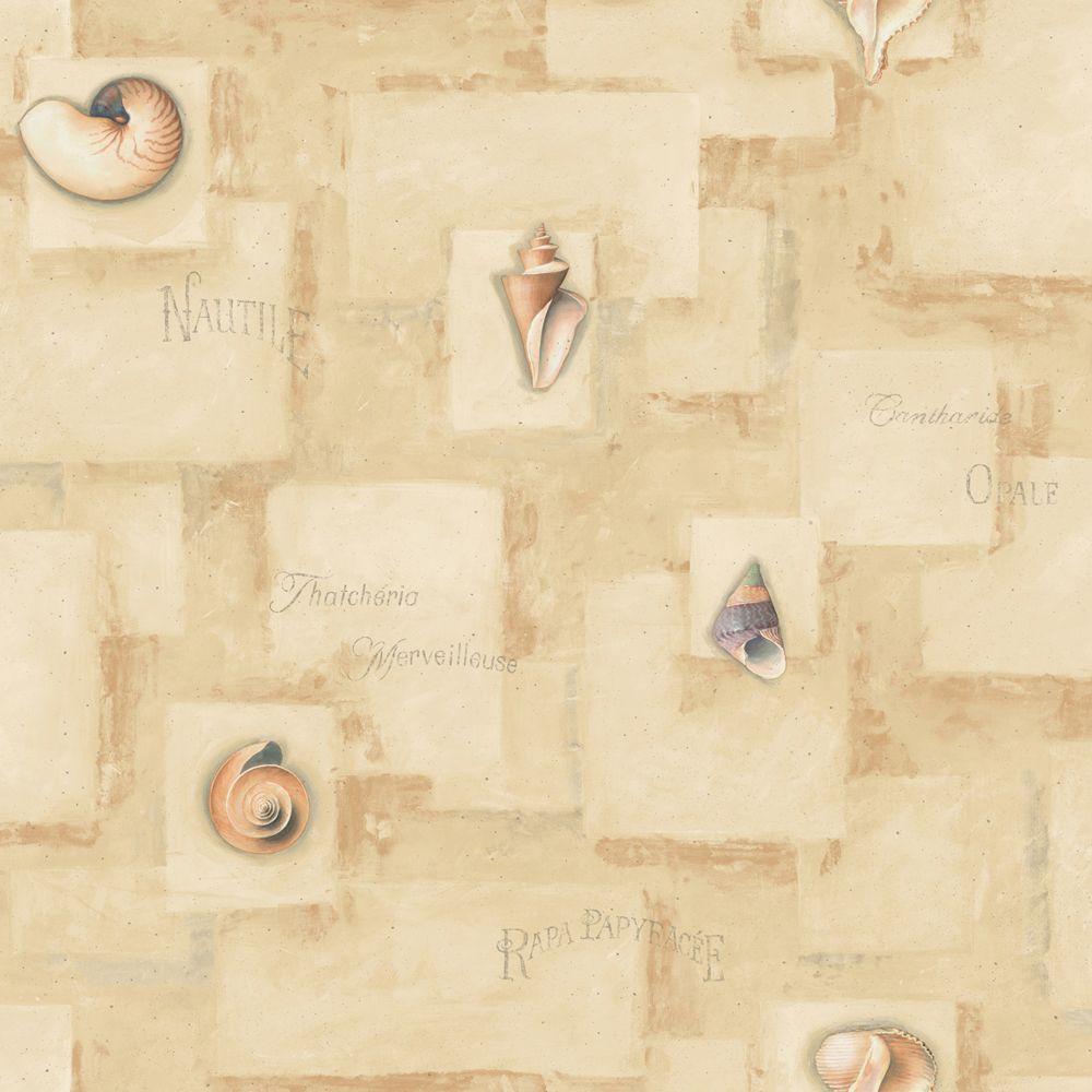 The Wallpaper Company 56 sq. ft. Neutral Sea Shells Wallpaper-DISCONTINUED