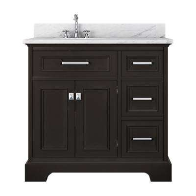 Laxton 37 in. W x 34 in. H Bath Vanity in Espresso with Marble Vanity Top in White with White Basin
