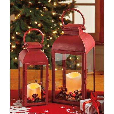Benton Red Battery Operated LED Pillar Candle Lantern