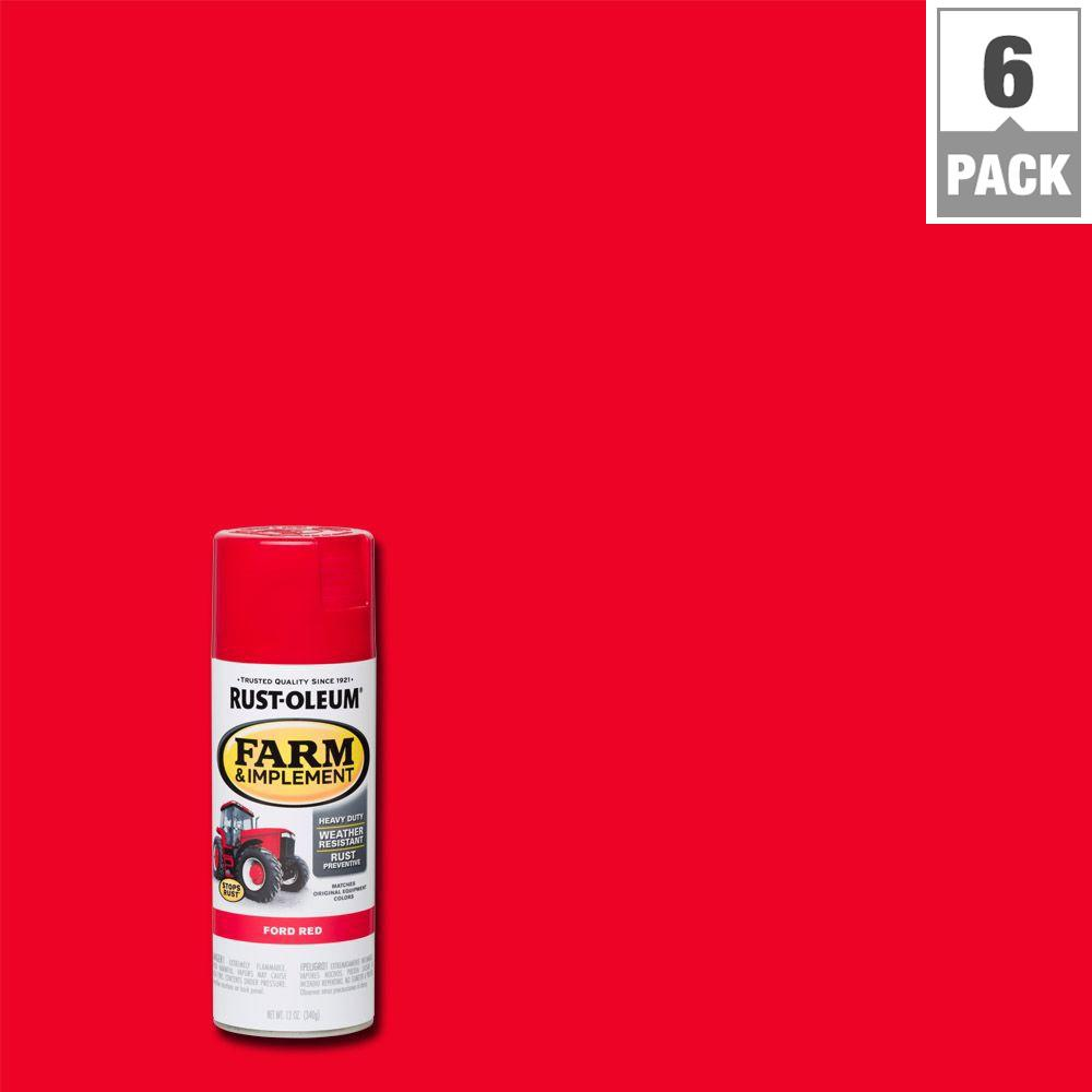 12 oz. Farm & Implement Ford Red Enamel Spray Paint (6-Pack)