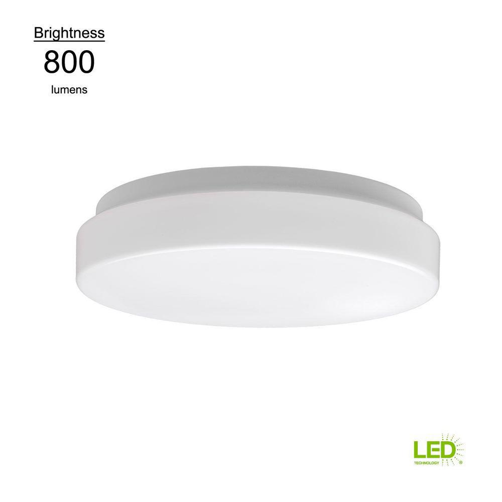 Commercial Electric Low Profile 7 in. White 60 Watt Equivalent Round Integrated LED Flush Mount (Bright White)