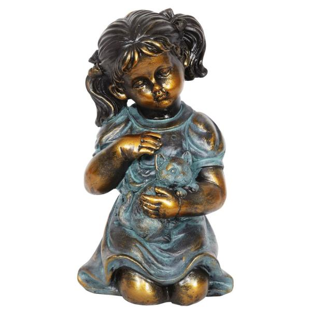 Bronze Look Girl and Kitten Statue