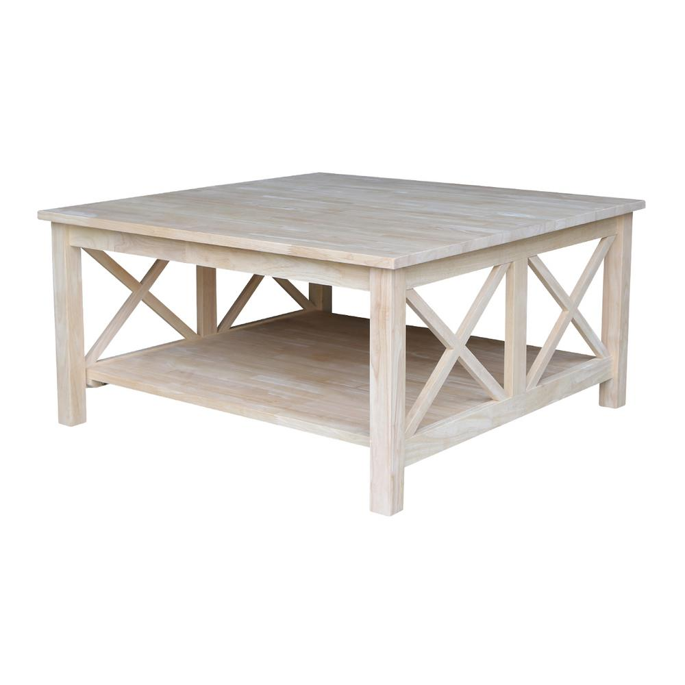 Phebe Modern Oak Timber Coffee Table Square Timber Top: International Concepts Hampton Unfinished Coffee Table-OT