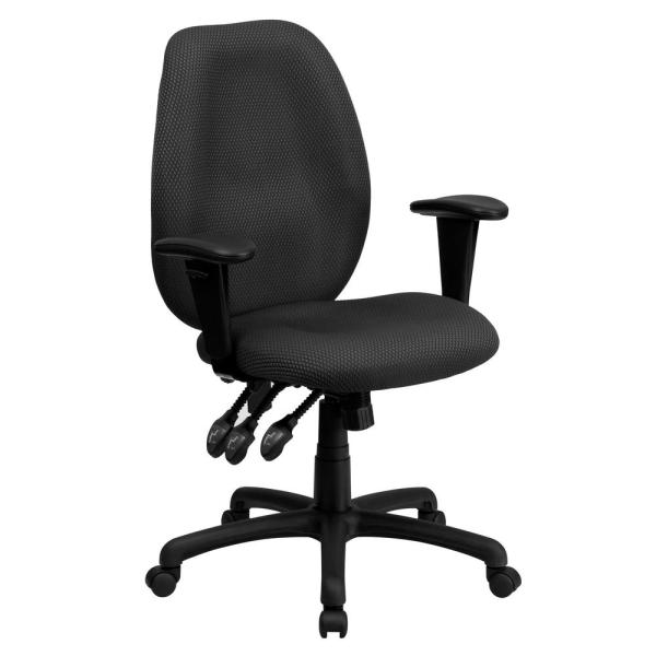 Flash Furniture High Back Gray Fabric Multi-Functional Ergonomic Executive Swivel Office Chair with Height Adjustable Arms
