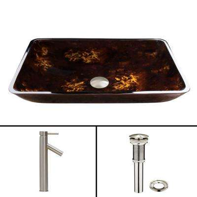 Glass Vessel Sink in Brown and Gold Fusion and Dior Faucet Set in Brushed Nickel