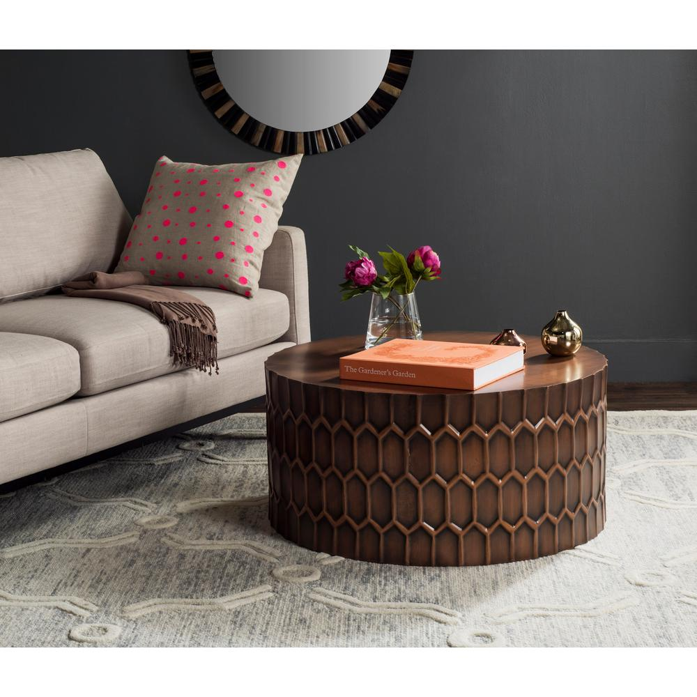 Safavieh Corey Antique Copper Coffee Table Fox3237a The Home Depot