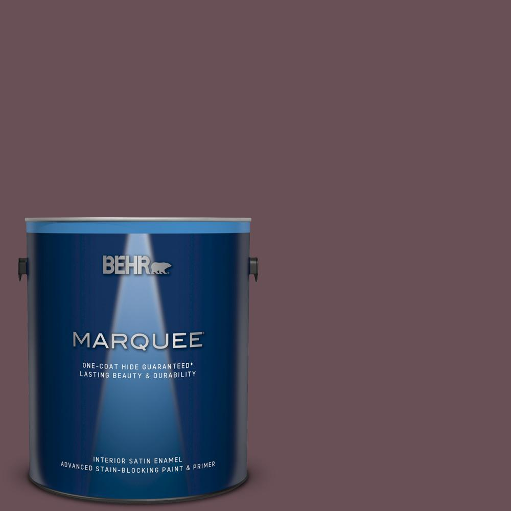 BEHR MARQUEE 1 gal. #N120-7 Grand Plum Satin Enamel Interior Paint and Primer in One