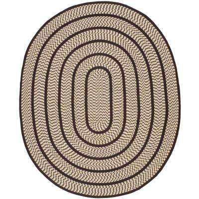 Braided Ivory/Dark Brown 8 ft. x 10 ft. Oval Area Rug