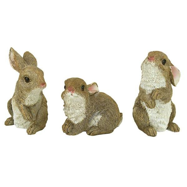Design Toscano The Bunny Den Garden Rabbit Statue 3 Piece Set Qm92008 The Home Depot