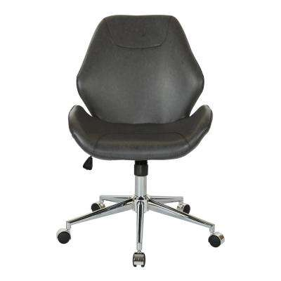 Chatsworth Black Faux Leather Office Chair with Chrome Base