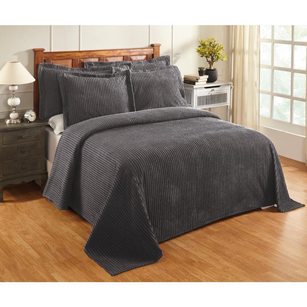 Aspen 81 in. x 110 in. Grey Twin Bedspread