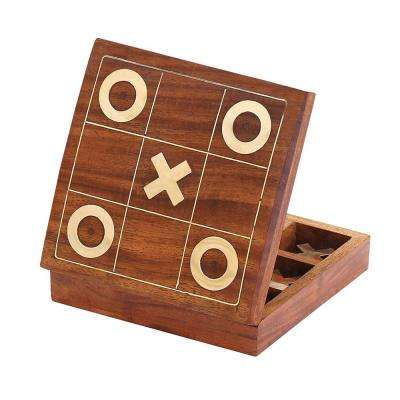 Handmade Brown and Gold Tic Tac Toe XO Board Game with Metal Noughts and Crosses