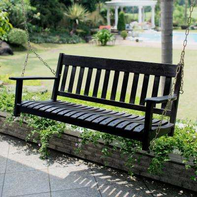 Thames Black Wood Porch Swing