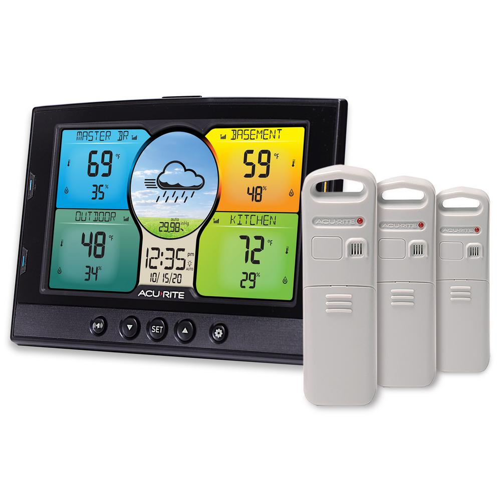 AcuRite Temperature And Humidity Weather Station With 3 Sensors 02082M    The Home Depot