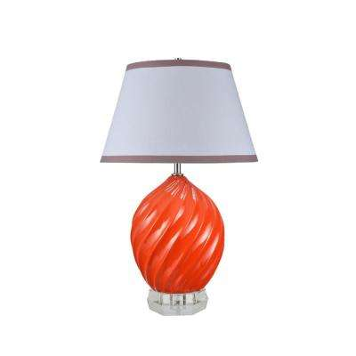 26-1/2 in. Tangerine Ceramic Table Lamp with Empire Shaped Lamp Shade in White