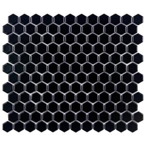 Metro Hex Matte Black 10-1/4 in. x 11-3/4 in. x 5 mm Porcelain Mosaic Tile (8.54 sq. ft. / case)