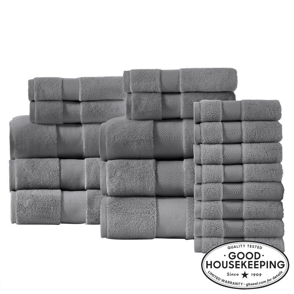 Plush Soft Cotton 18-Piece Towel Set in Stone Gray