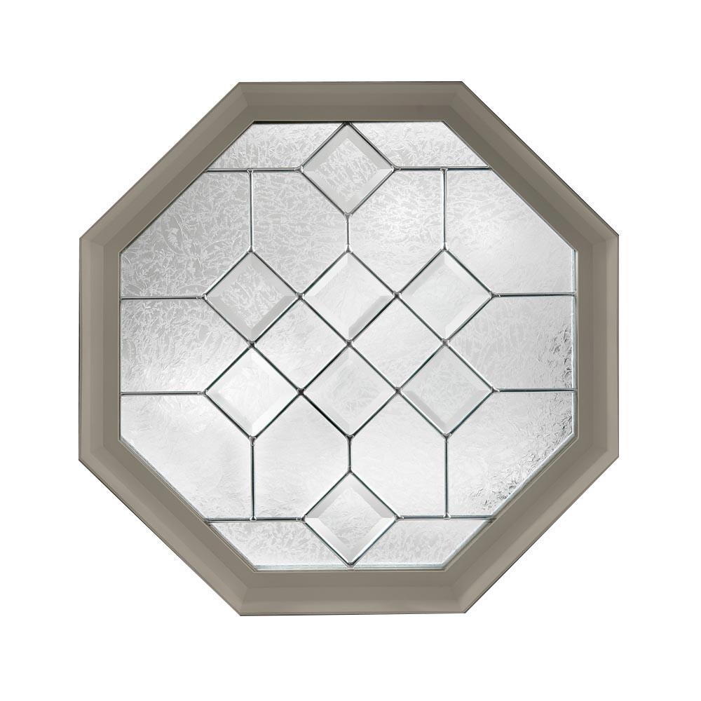 23.25 in. x 23.25 in. Decorative Glass Fixed Octagon Geometric Vinyl Window in Driftwood