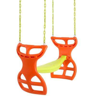 2-Seater Glider Swing Vinyl Coated Chain Hardware For Intallation Included Orange Yellow