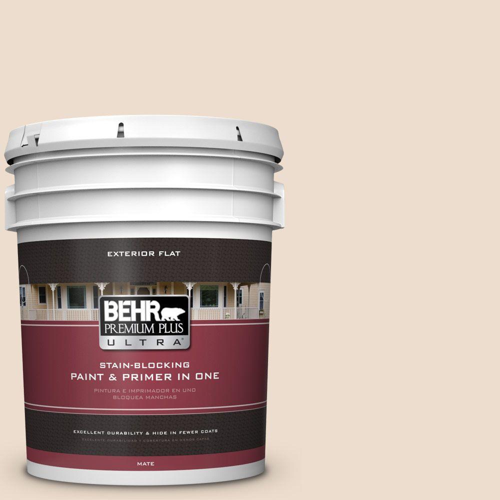 BEHR Premium Plus Ultra 5-gal. #290E-1 Weathered Sandstone Flat Exterior Paint