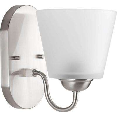 Arden Collection 1-Light Brushed Nickel Bath Sconce with Etched Glass Shade