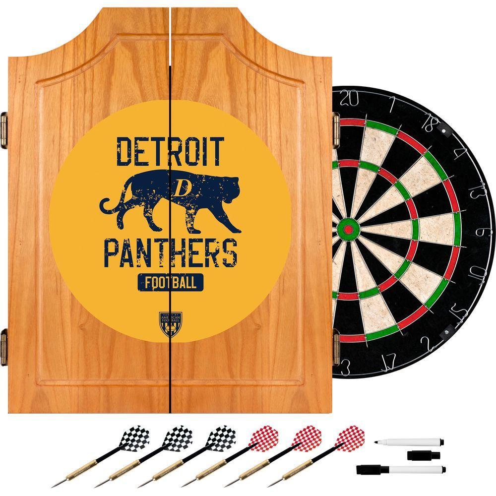 VAF 21 in. Detroit Panthers Wood Dart Board Cabinet Set