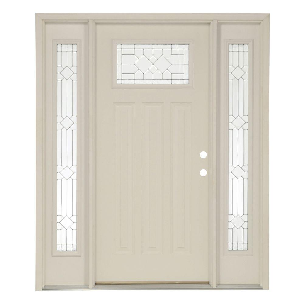 White Single door with Sidelites Front Doors Exterior Doors