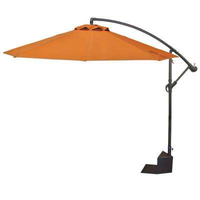 Santiago 10 ft. Aluminum Octagonal Cantilever Tilt Spa Side Patio Umbrella in Terra Cotta Olefin