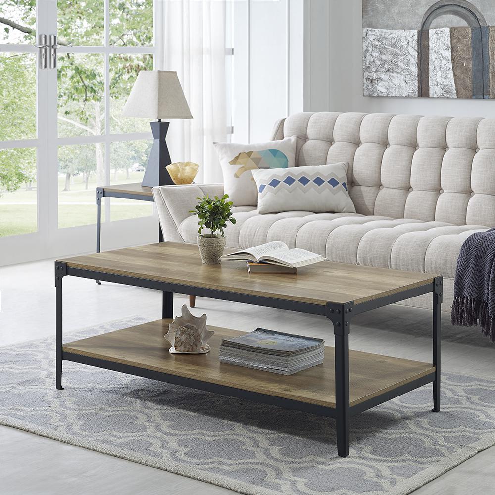 Walker Edison Furniture pany Angle Iron Rustic Wood Coffee