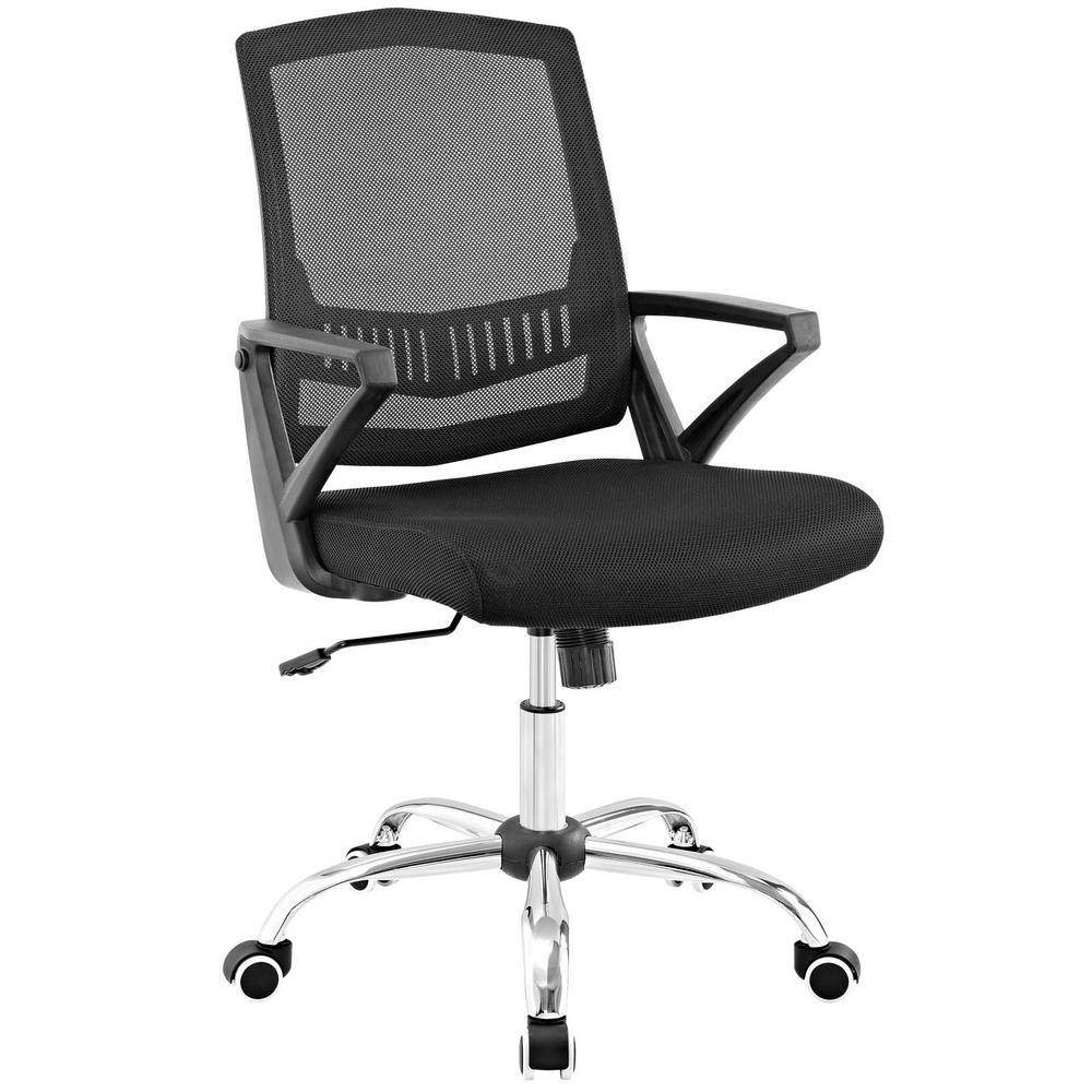 Proceed Black Mid Back Upholstered Fabric Office Chair