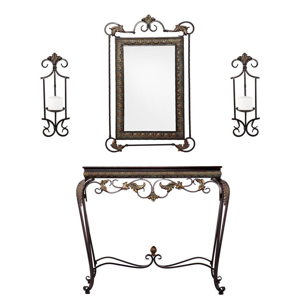 Southern Enterprises Leland Aged Bronze And Antique Walnut Console Table  With Mirror And Sconce