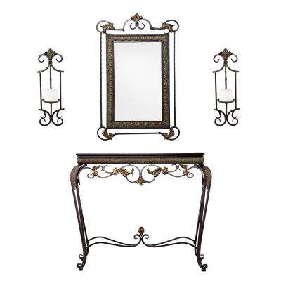 Leland Aged Bronze and Antique Walnut Console Table with Mirror and Sconce