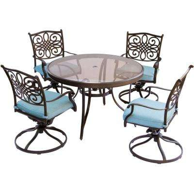 Traditions 5-Piece Aluminum Outdoor Dining Set with Round Glass-Top Table and Swivel Chairs with Blue Cushions