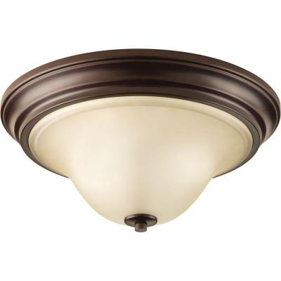 Spirit Collection 2-Light Antique Bronze Flush Mount with Light Umber Etched Glass