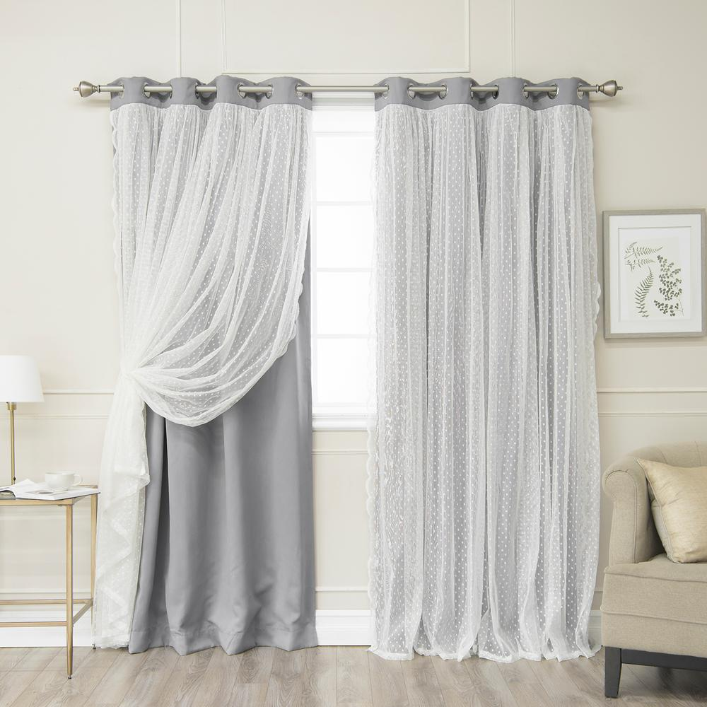 Best Home Fashion 84 in. L Grey Someday Lace Overlay Blackout Curtain Panel (2-Pack)