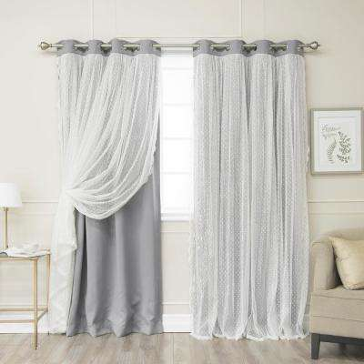 84 in. L Grey Someday Lace Overlay Blackout Curtain Panel (2-Pack)