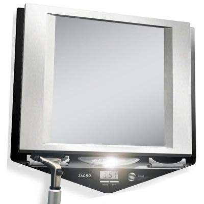 9 in. x 9 in. Fog-Free Lighted Shaving Mirror in Stainless Steel and Black