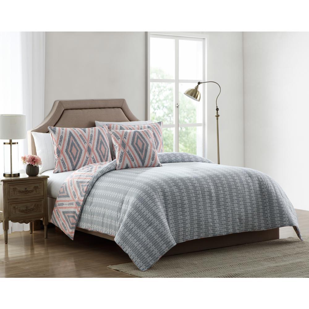 Delilah Pink and Grey Tribal Print Twin Comforter Set