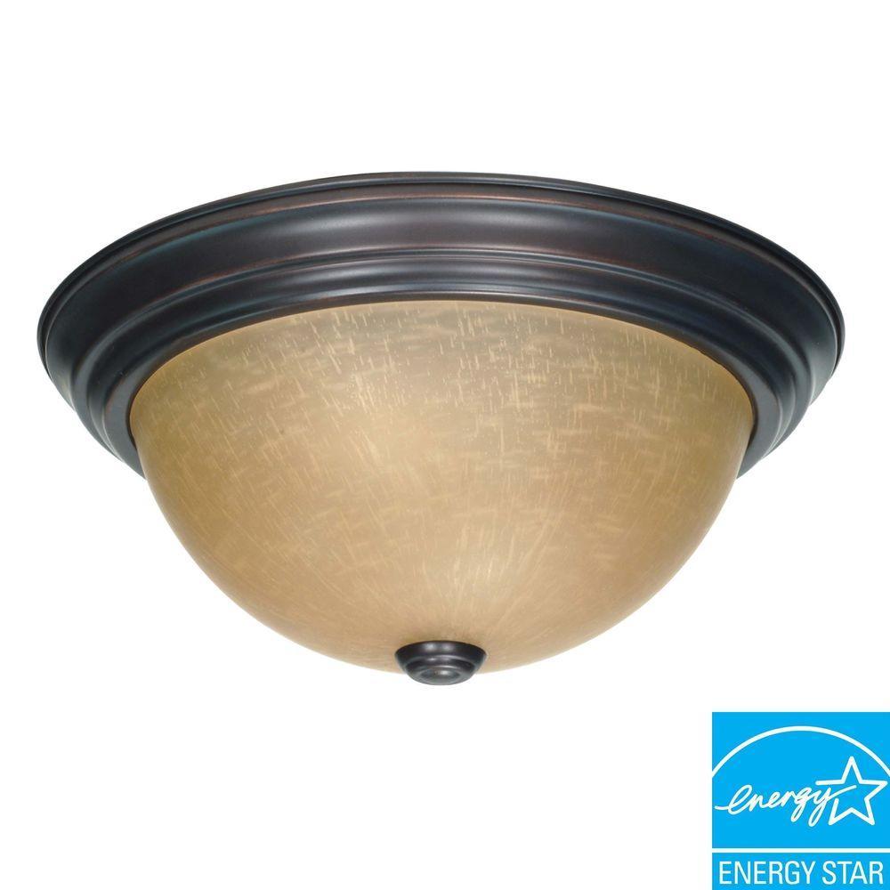 2-Light Mahogany Bronze Fluorescent Flushmount with Champagne Glass (2) 13-Watt CFL Bulbs Included