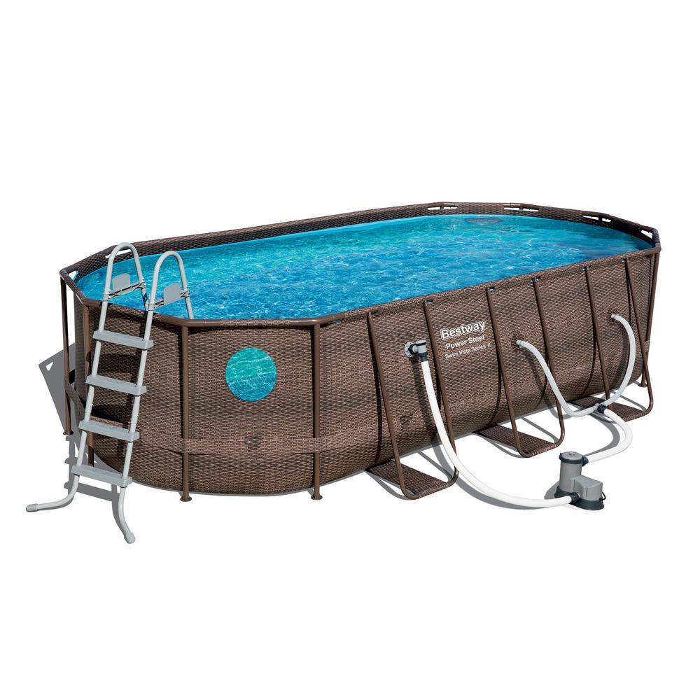 beschikbaar laatste mode eerste klas Bestway Bestway Power Steel Swim Vista 18 ft. x 9 ft. x 4 ft. Swimming Pool  Set with Pump