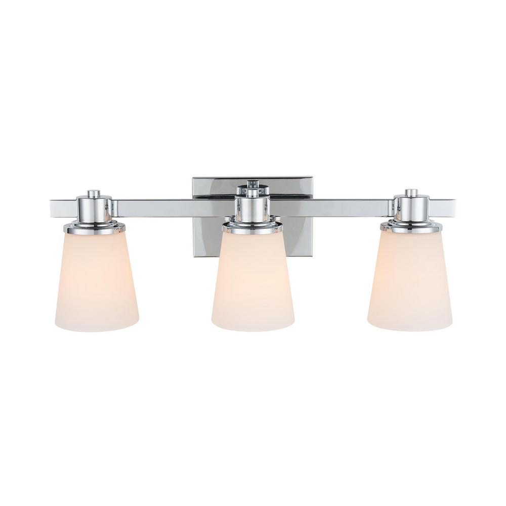 Home Decorators Collection 3 Light Chrome Bath Vanity Light With Bell Shaped Etched White Glass 15343 The Home Depot