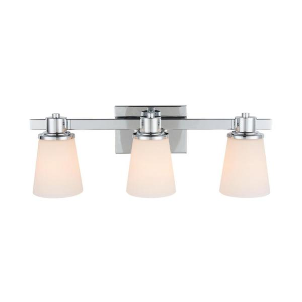 3-Light Chrome Bath Vanity Light with Bell Shaped Etched White Glass