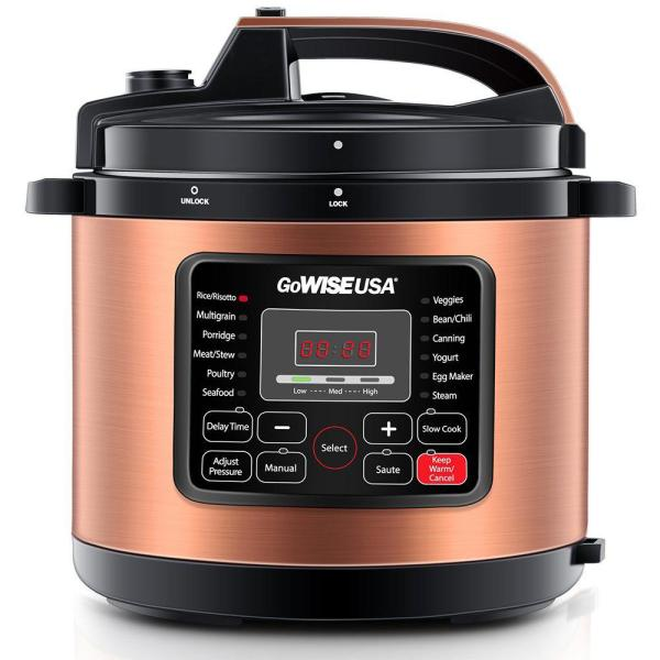 GoWISE USA 6 Qt. Copper Electric Pressure Cooker with Non-Stick Interior